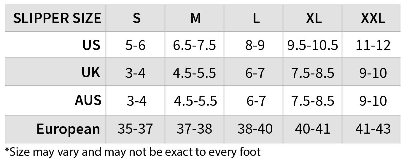 ROSARINI Ballerina Slipper Size Chart
