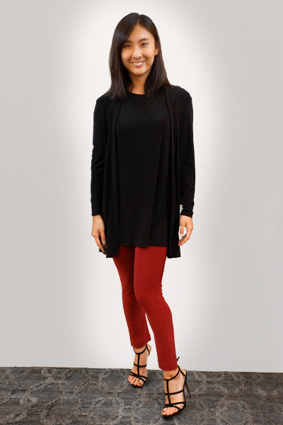 Mid Length Cardigan, Travel T-Shirt and Red Slim Pants